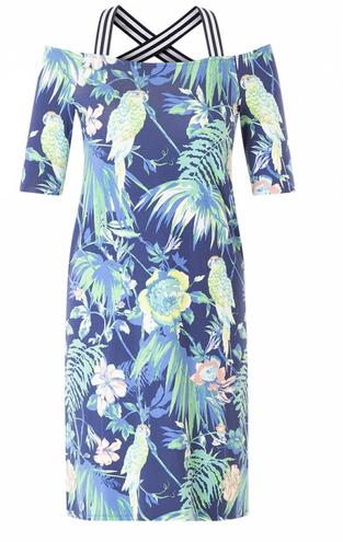 Angenehm weiches Sommerkleid mit gewebten Blumenmuster