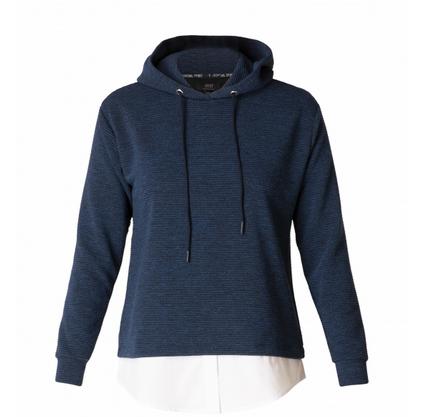 Sweatshirt in Melange-Qualität mit Bluseneinsatz unten.