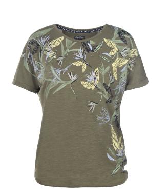 Rundhals T-Shirt mit lässiger Schnittführung.