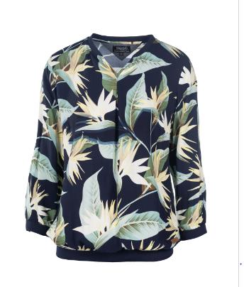 Bluse mit tropischem Muster