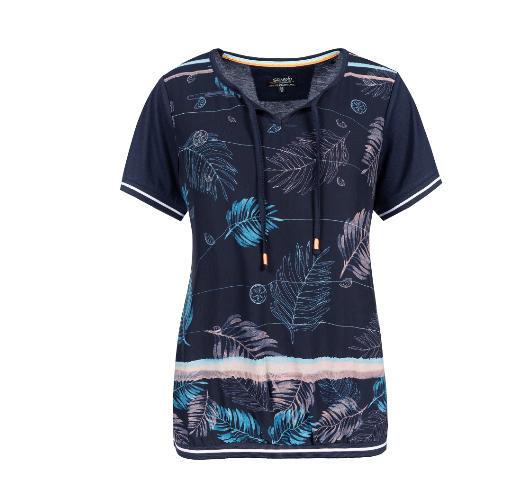 T-Shirt mit sommerlich bedrucktem Oberstoff