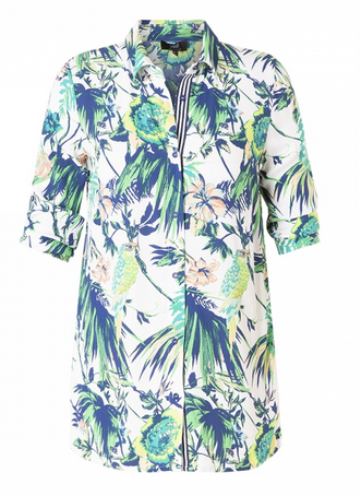 Halblange Bluse mit tropischem Aufdruck