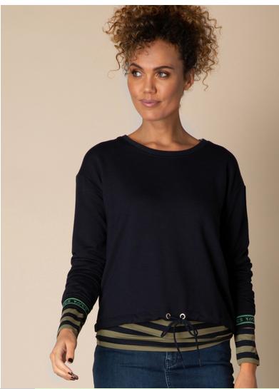 Sweatshirt mit Binde- Bündchen